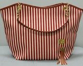 Red Striped Canvas Tote - 50% off Was 19.99 - now 9.99 - Free Shipping to USA - Red Striped Purse - Nautcial Tote