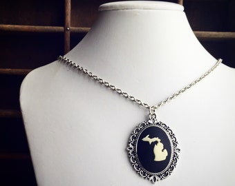 Michigan Cameo Necklace in Antique Silver / State Pride / MI Lover Gift / Pick your Length