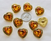 8 Heart Buttons Jeweled Rhinestone Gold  Faux Acrylic Rhinestone (AP 1)