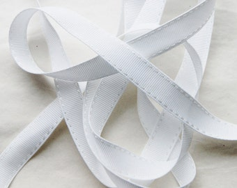 White Ribbon 5/8 inch WHITE Saddle Stitch Grosgrain Ribbon Trim 5 yards,Hair bows , Scrap booking, Cards (SS 20)