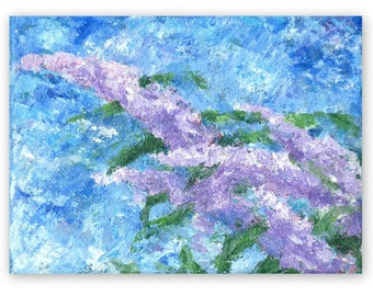 Buddleia, small canvas, abstract art, 4 3/4 x 6 1/4 inches
