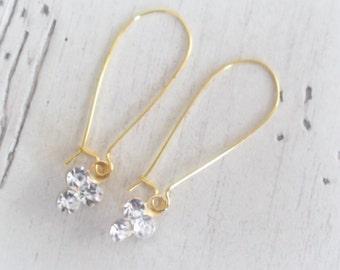 Dainty Gold Earrings Rhinestone Delicate Gold Plated Dangle Earrings