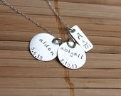 Family Necklace, Mom Necklace, Personalized, Hand Stamped with Couples Initials and Kids Names & Birthdates