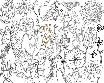 Mod Flower Digital Stamps, Printable Line Art + Silhouettes, Digital Clip Art Flower Doodle, Floral Stationery, Hand Embroidery