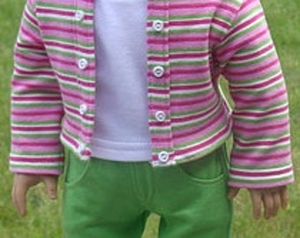 Striped Knit Jacket, Tank Top And Capris For American Girl Or Similar 18-Inch Dolls