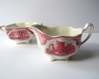 Johnson Bros Old Britain Castles Red Cream and Sugar Set - Vintage Chic