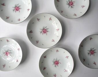 Vintage Meito Pink Rose Dessert Bowls Set of Six