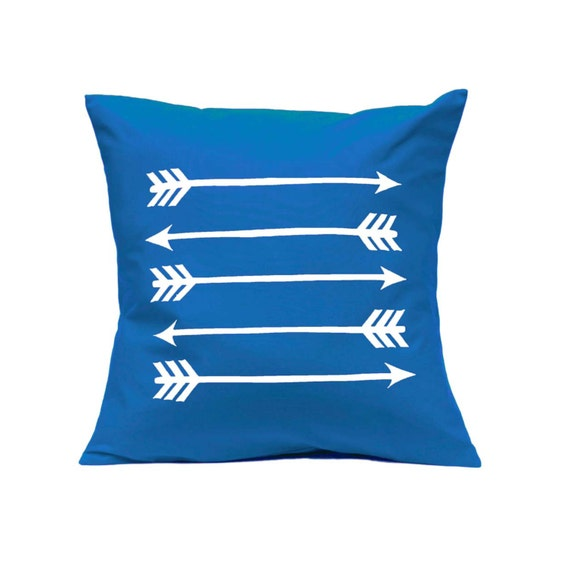 Items similar to Throw Pillow - Arrows in Bright Blue - Decorative Cushion - Handmade Pillow ...