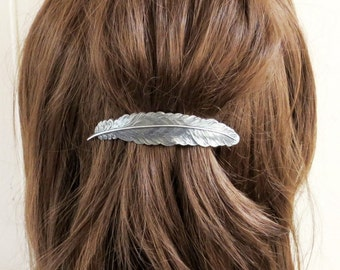 Large Feather Barrette Sterling Silver Finish