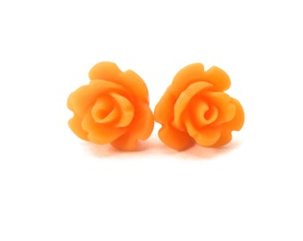 Apricot Orange Rose Earrings- Surgical Steel or Titanium Post Earrings- 9mmBlack Friday Sale 20% Off