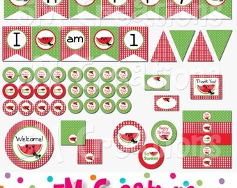 Watermelon Birthday Party Package - Watermelon Printable Decorations - Picnic Party- Watermelon Banner Cupcake Toppers- INSTANT DOWNLOAD Pdf
