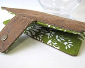 Women wallet tan faux tooled leather clutch handmade - green and white floral - ID clear pocket - Custom order - vegan wallet