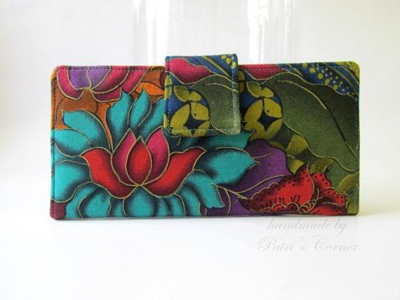 Handmade women wallet - Exotic flower teal purple fucshia gold details - custom order - bifold wallet - vegan purse