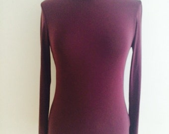 90s maroon polar / polo neck top (s)