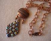 Copper Peacock Pendant and Chain Necklace