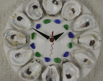 Oyster Plate Clock with blue and green sea glass