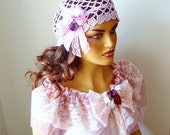 Crochet Bride Lace Pink Hat, Bridesmaid Pink Hat, Bride Fashion, Lace Women Hat, Crochet Pink Hat