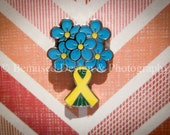 Sale - Lot of 5 Forget-Me-Not Yellow Ribbon Suicide Memorial Lapel Pins