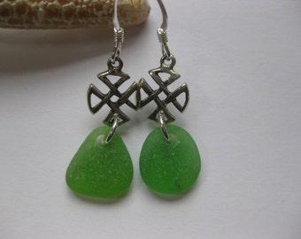 Irish jewelry Celtic cross jewelry sea glass earrings celtic cross earrings