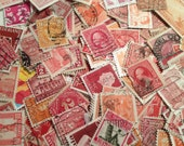 Shades of Red and Orange Used Off Paper Vintage Postage Stamps, Worldwide Postage Stamps, Philatelic, Stamp Collecting,