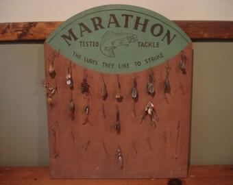 Vintage Fishing Lure Store Display, Marathon Fishing Tackle Display, Vintage Fishing Lures