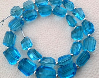 New Arrival, FULL 8 Inch Strand, SWISS BLUE Quartz Faceted Nuggets Shape Briolettes, 10-12mm size,Superb Item at Low Price