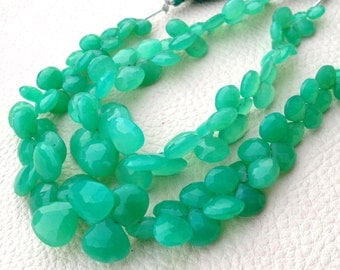 Brand New, 1/2 Strand, Unique Natural CHRYSOPRASE Faceted Heart Shape Briolette, 7-11mm, Great Item,Finest Quality
