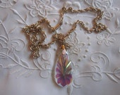 Vintage Pearlized Glass Teardrop Shaped Pendant Necklace from Germany