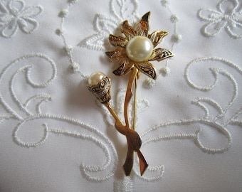 Vintage Black and White Etched Flower with Faux Pearl Center Brooch and Faux Pearl Bud