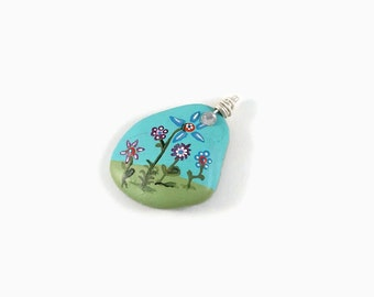 Stone Garden Pendant, Hand Painted Pendant, Painted Pendant, Shale Art, Stone Art, Painted rock, Painted Stone, Handmade Pendant, Made In US