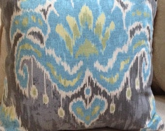 "Marreskesh Moonstone/Blue/Gray Ikat Pillow Cover/   4 Available 20"" x 20"""