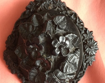Victorian Mourning Brooch Pressed Horn