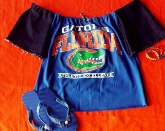 One of a kind Florida Gators bohemian off the shoulder  tube top with built in dark denim sleeves