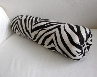 ZEBRA linen and black decorative bolster pillow 6x22