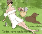 Have Confidence - A Day in the Park - Art for Women - cards for Women