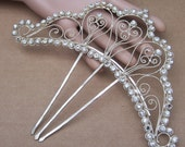Sumatra Hair Comb Silver Tone Metal Filigree Rhinestone Hair Jewellery Headpiece Hair Accessory Headdress Decorative Comb