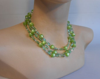 I Just Want a Touch of Summer - Vintage 1950s Light Green Moonglow Lucite 3 Strand Necklace