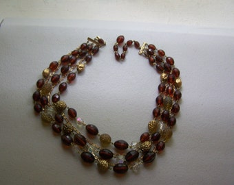 Gold Chain Tortoise Multistrand Statement West Germany Necklace