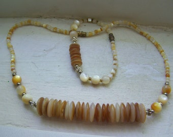 CLEARANCE Amber Mother of Pearl  Bead Silver Unique Bracelet and Necklace Set