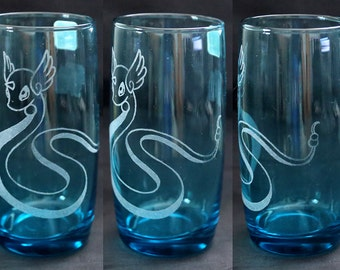Blue Dragonair Engraved Glass