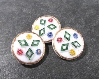Hand Painted White Glass Buttons West Germany VINTAGE Buttons Three (3) White Glass Gold Vintage Buttons Jewelry Sewing Supplies (Y53)