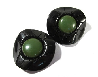 Black and Green BAKELITE Coat Buttons VINTAGE Two (2) Large Art Deco Style Coat Buttons Unique Shape Sewing Jewelry Supplies (L38)