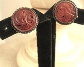 Antique Carved Cinnabar & Sterling Screw Back Earrings