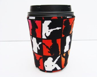 Coffee Cozy Coffee Sleeve made with Rockin Guitar Player Fabric - Reuseable