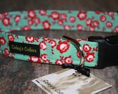 """Teal and Red Floral Dog Collar """"The Emma"""" Floral Dog Collar"""