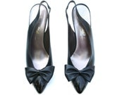 Vintage Amalfi Dark Navy Blue Leather/Patent Bow Slingback Dress Heels Shoes Sz. 8