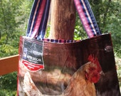 Feed Bag Tote Up-cycled Chickens