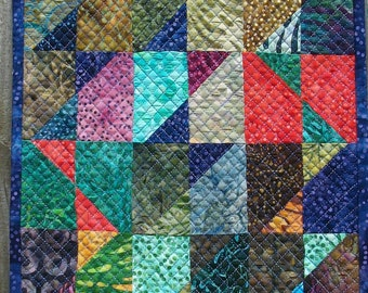 Batik Art Quilt Wall Hanging Quilted Tidepool Quiltsy Handmade FREE U.S. Shipping