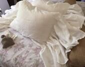 One Ruffled Bed Pillow Sham-Long Side Ruffled Washed Linen Pillow Sham-Zip Closure-Decorative Sham-Romantic Bedding-Optional Sizes