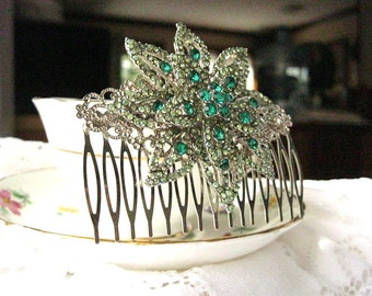 Green glass rhinestone vintage brooch hair comb, bridal hair comb, bridesmaid, mother of the bride, grooms mother, silver tone